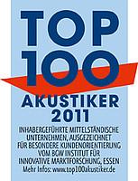 Auszeichnung zum Top 100 Akustiker für das Jahr 2011