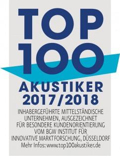 Auszeichnung zum Top 100 Akustiker für das Jahr 2015 und 2016
