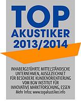 Auszeichnung zum Top 100 Akustiker für das Jahr 2013 und 2014